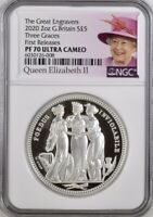 THREE GRACES 2020 SILVER PROOF 5 ROYAL MINT COIN 2OZ. GREAT ENGRAVERS NGC70