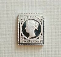 FRANKLIN MINT SOLID SILVER PROOF STAMP - GREAT BRITAIN 1865 QUEEN VICTORIA 10P