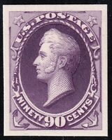 US STAMP 218P4 1888 90C PERRY  PLATE PROOF ON CARD MNH  FRES