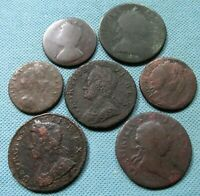 LOT OF 7 1600S 1700S HALFPENNY FARTHING BRITISH US COLONIAL