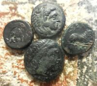 LOT OF 4 ABOUT VF  FOR TYPE ANCIENT MACEDON ALEXANDER PHILIP