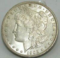 1902-P US MORGAN SILVER DOLLAR $1 COIN  BU UNCIRCULATED WHITE AND LUSTEROUS