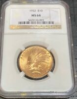 1932 $10 GOLD LIBERTY HEAD EAGLE NGC MS64 CERTIFIED TEN DOLL