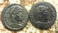 LOT OF 2 CONSTANTINE THE GREAT COINS RATED EF BY PAST DEALER BOTH ABOUT 20 MM