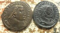 LOT OF 2 COINS DIOCLETIAN & 23 MM MAXIMINUS II BOTH RATED EF BY PAST DEALER