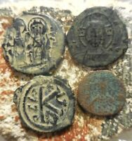 LOT OF 4 FINE TO ABOUT VF BYZANTINES: MANUEL 24 MM JUSTIN II JUSTINIAN.