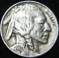 BOLD DATE EF/EXTRA FINE  1917-P BUFFALO NICKEL 5 ONLY 99 SHIPPING HF14DX