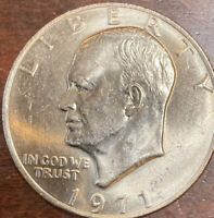 1971 P EISENHOWER DOLLAR--IKE, UNC. CLAD COIN.$1 ABOUT UNCIRCULATED