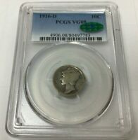 1916 D MERCURY DIME GRADED & CERTIFITED PCGS VG08 CAC