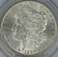 1886-P MORGAN DOLLAR. VAM-4 REPUNCHED DATE. PCGS MINT STATE 63.  ET3246/CL