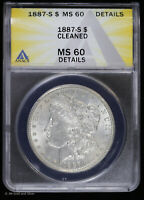 1887 S MORGAN SILVER DOLLAR $1 ANACS MINT STATE 60 DETAILS | UNCIRCULATED