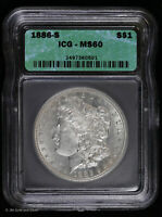 1886 S MORGAN SILVER DOLLAR ICG MINT STATE 60 | UNCIRCULATED