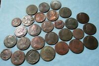 LOT OF 28 1700S OLD COPPERS COLONIAL HALFPENNY FARTHING GEOR