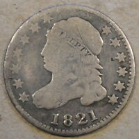 1821 CAPPED BUST DIME VG