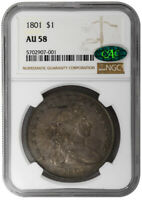 1801 $1 DRAPED BUST DOLLAR NGC AU58 CAC SILVER COIN