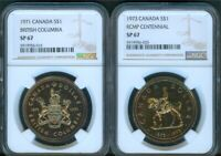CANADA 1971 & 1973 SILVER DOLLARS NGC SP 67