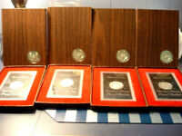 4-1971 S. SILVER PROOF EISENHOWER DOLLARS COMPLETE WITH US MINT BROWN BOXES.