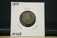 1854 EXTRA FINE  SEATED LIBERTY DIME SILVER LOT M408