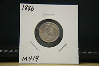 1886 SEATED LIBERTY DIME SILVER LOT M419