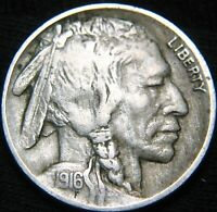 SHARP DATE FULL HORN 1916-P BUFFALO NICKEL 5 SHIPPING ONLY 99 HH109DC