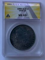 1884 O/O NEW ORLEANS MORGAN SILVER DOLLAR VAM 14 DOUBLE TAIL ANACS MINT STATE 63 150