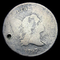 1797 1 ABOVE 1 LIBERTY CAP BUST HALF CENT 1/2 PENNY       NICE HOLED      E195