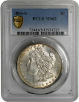 1896-S $1 MORGAN DOLLAR PCGS MINT STATE 62 SILVER COIN