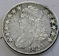 1825 CAPPED BUST SILVER HALF DOLLAR KM37 IN FINE CONDITION F