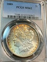 1889 MORGAN SILVER DOLLAR PCGS MINT STATE 62  GOLD TONE SCRATCHLESS SLAB CHN