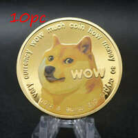 10PC GOLD DOGECOIN COINS COMMEMORATIVE COLLECTORS GOLD PLATE