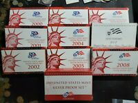 2000   2009 US MINT SILVER PROOF SETS COMPLETE IN ORIGINAL B