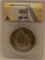 1888 O NEW ORLEANS MORGAN SILVER DOLLAR VAM 12A DOUBLE EAR O/O RIGHT ANACS MINT STATE 63