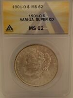 1901 O NEW ORLEANS MORGAN SILVER DOLLAR VAM 1A SUPER CD CLASHED DIE ANACS MINT STATE 62