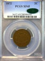 1872 TWO CENTS - PCGS GRADED EXTRA FINE 45 CAC - WONDERFUL KEY-DATE COIN