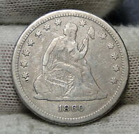1860 SEATED LIBERTY QUARTER 25 CENTS    KEY DATE 804,400 MINTED. 2943
