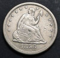 1856 O SEATED LIBERTY QUARTER 25 CENTS   KEY DATE 968,000 MINTED  1355