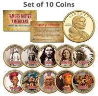 FAMOUS NATIVE AMERICANS SACAGAWEA U.S. $1 DOLLAR 10 COIN COMPLETE SET INDIANS