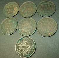 LOT OF 7 LARGE CANADA CENTS 1896,1899,1876,1882,1896,1881,1876