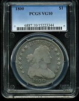 1800 $1 SILVER DRAPED BUST DOLLAR VG10 PCGS   BB 187
