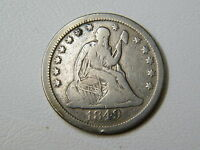 1849 SEATED LIBERTY QUARTER WITH NEARLY FULL LIBERTY PAST CLEANING   RIM DINGS