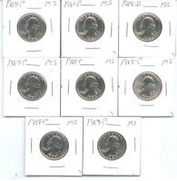 1980 P THRU 1989 P UNC. WASHINGTON QUARTERS 8 NICE COINS NO 1982 OR 1983 A