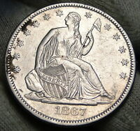 1867 SEATED LIBERTY HALF DOLLAR. 50 CENTS   KEY DATE 449,300 MINTED 3907