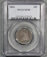 1834 CAPPED BUST QUARTER CERTIFIED BY PCGS XF40 N/R GB V17
