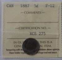 1887 CANADA 5 CENTS SILVER ICCS GRADING F 12