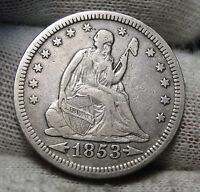 1853 SEATED LIBERTY QUARTER 25 CENTS   NICE COIN  3080