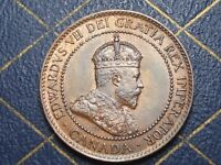 HIGH GRADE 1902 CANADIAN LARGE PENNY KING EDWARD VII OLD BRONZE COIN LOT 02B