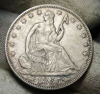 1855 SEATED LIBERTY HALF DOLLAR 50 CENTS. KEY DATE ONLY 759,500 MINTED  3629