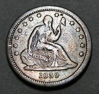 1839 SEATED LIBERTY QUARTER 25 CENTS     KEY DATE ONLY 491,146 MINTED 1847