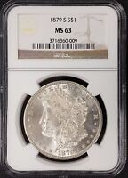 1879 S MORGAN SILVER DOLLAR CERTIFIED MINT STATE 63 BY NGC BRIGHT