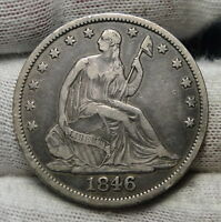 1846 O SEATED LIBERTY HALF DOLLAR 50 CENTS.  NICE OLD COIN  2922